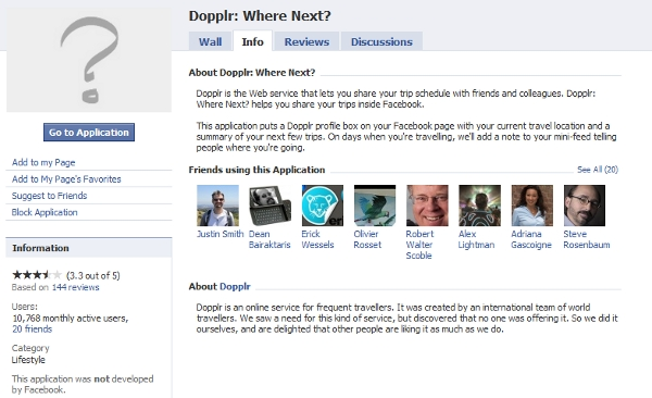 Dopplr Facebook Where Next?