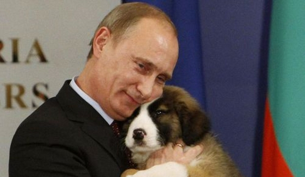 Prime Minister Putin hugs his Bulgarian sheepdog