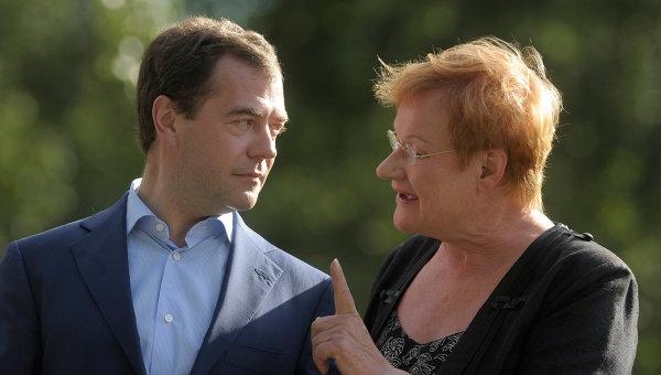 Dmitry Medvedev and Tarja Halonen