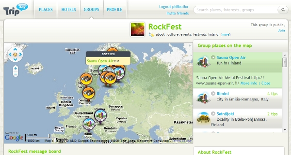 Tripsay group-centric element - Rockfest in this case