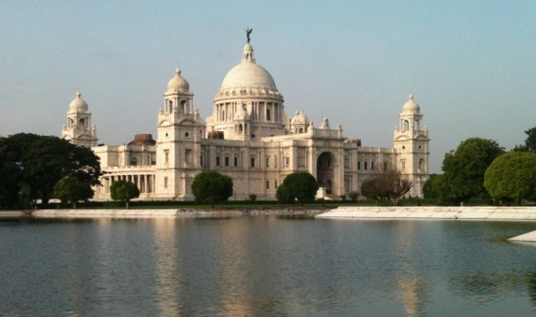 Across the lake from the Victoria Memorial