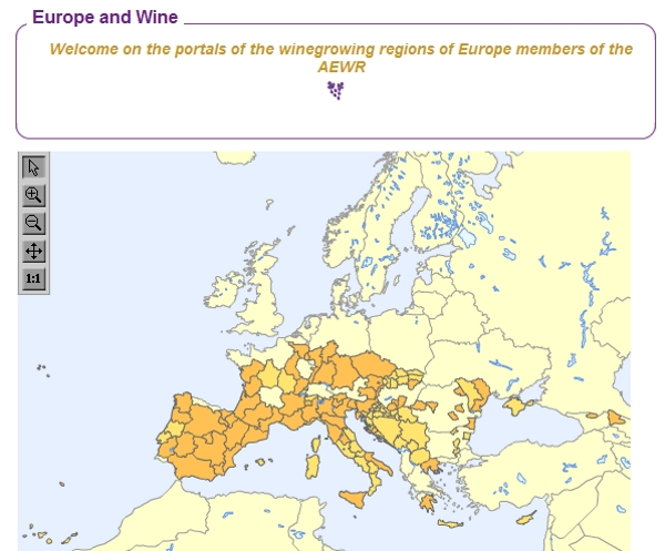 AREV wine map of Europe
