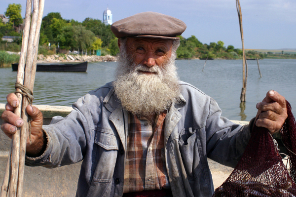 A fisherman near Sarichioi in the Danube Delta