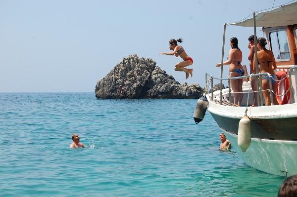 Fun, sun, and water in Corfu.