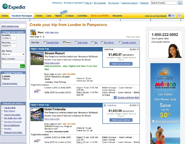 A quick package search on Expedia