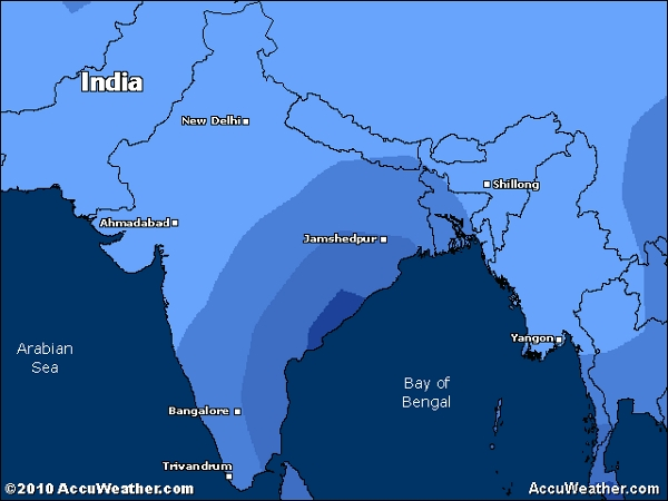 Current weather map for Bay of Bengal