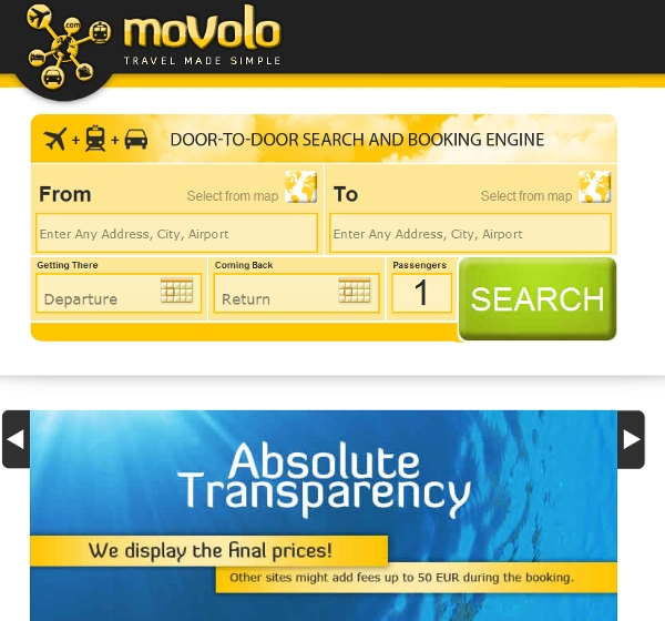 Movolo's landing page