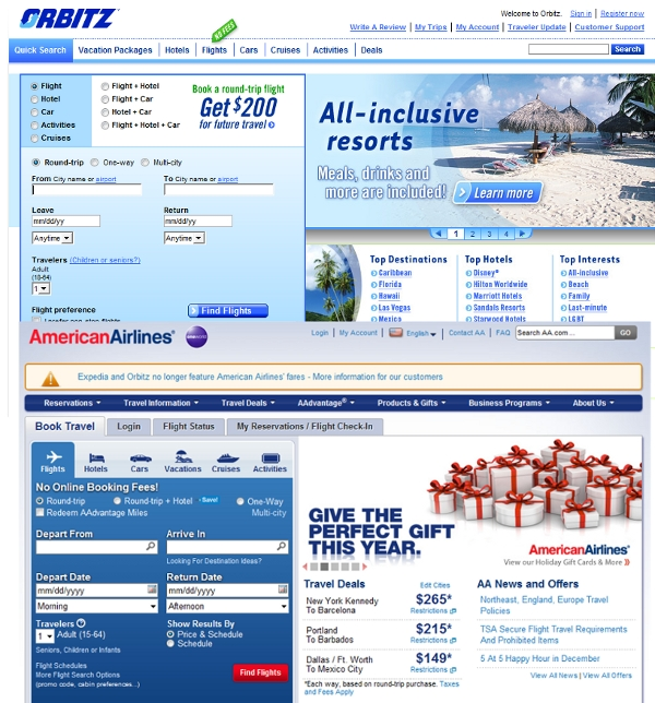 American Airlines copies Orbitz web design