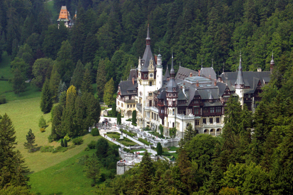 Peles castle from helicopter