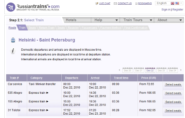Russian Trains travel booking