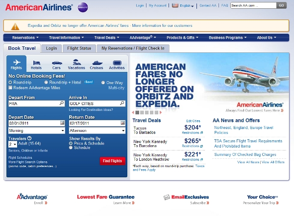 American Airlines landing page