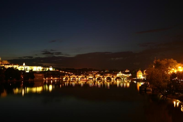 Charles Bridge from the river at night