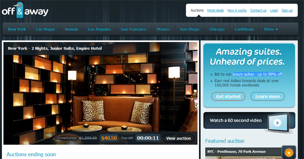 With Off & Away you bid to win luxury suites - up to 99% off