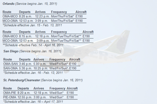 Frontier Airlines schedules for the new service.
