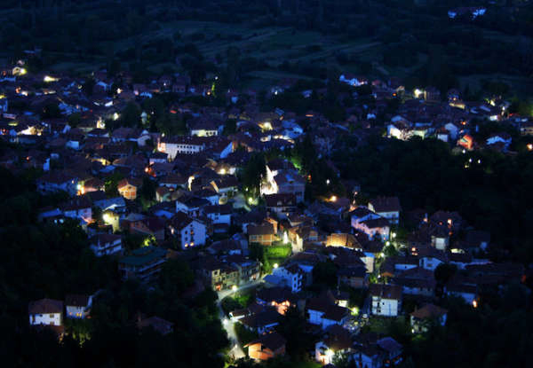 Vevcani at night, the village hosting the Vevcani Carnival January 13, 2011