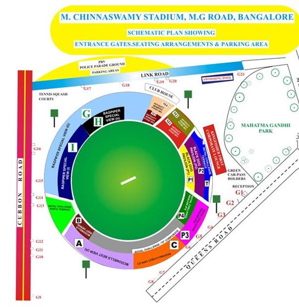 M. Chinnaswamy Stadium Layout