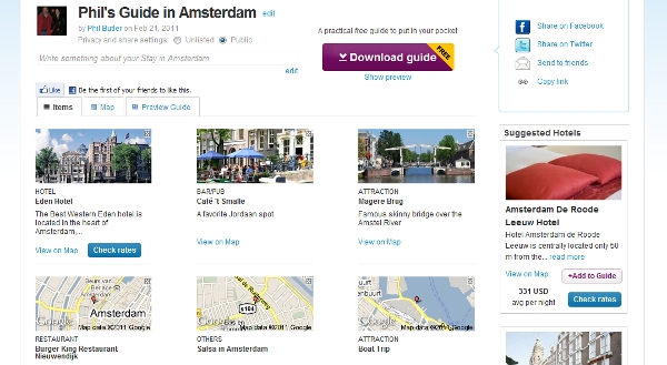 Amsterdam guide in list view