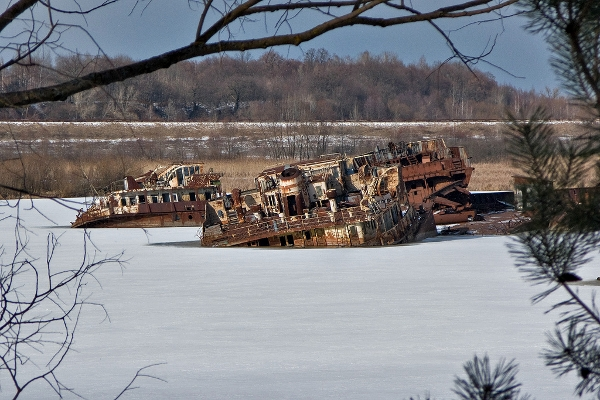 Abandoned boats due to radiation