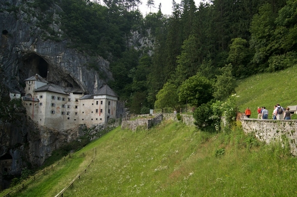 The approach to the amazing Predjama castle