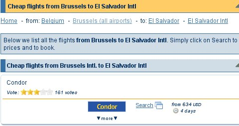 WhichBudget results for Brussels to El Salvador
