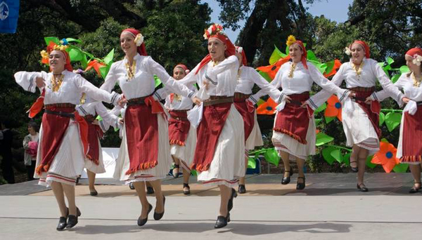 Traditional folk dancing at the Bulgarian travel expo