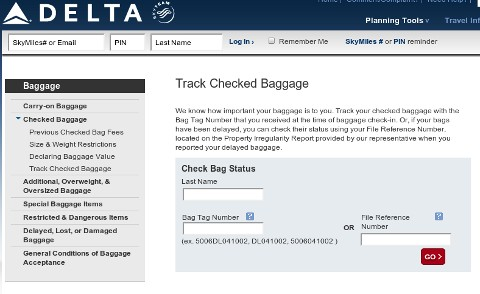 Delta baggage tracker