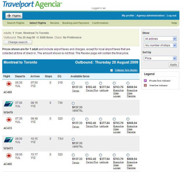 travel operators use Travelport to access airline flight and fare information