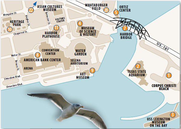 Map featuring the most exciting attractions in Corpus Christi.
