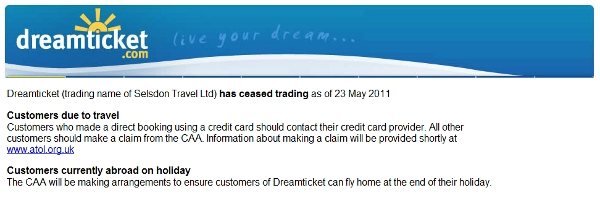 Dreamticket goes under