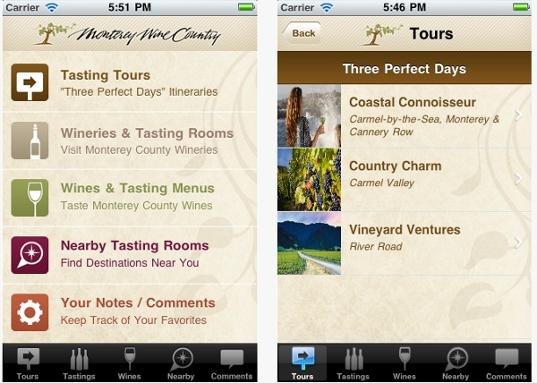 Phone app screen shots