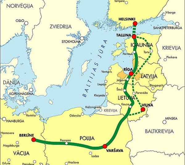 Rail Baltica route from Warsaw to Tallinn and Helsinki