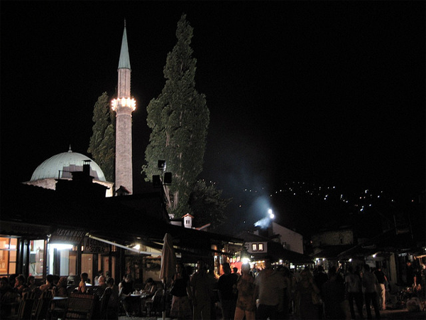 Baščaršija at night.