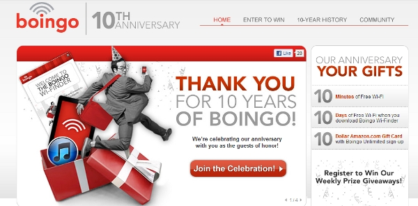 Boingo dot come celebrates 10 years.