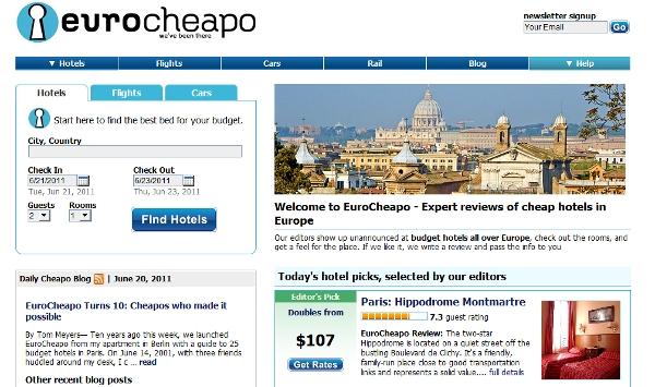 Eurocheapo landing page