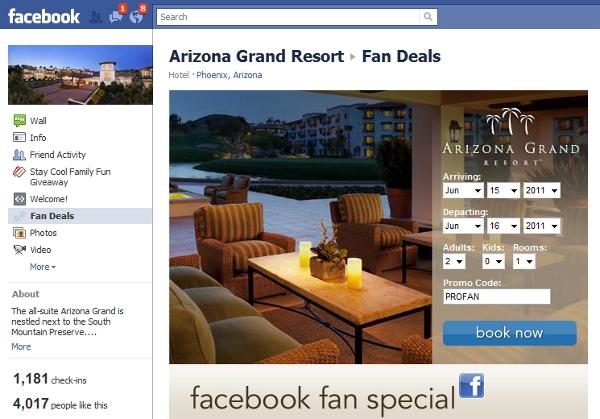 Arizona Grand Resort Facebook booking