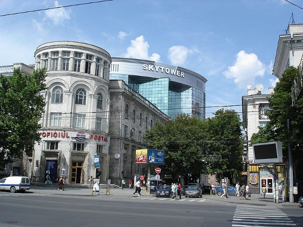 Post Office and Sky Tower in Chişinău