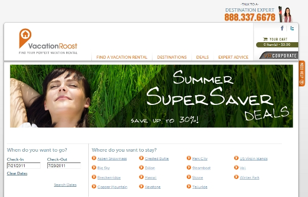 VacationRoost deals pages