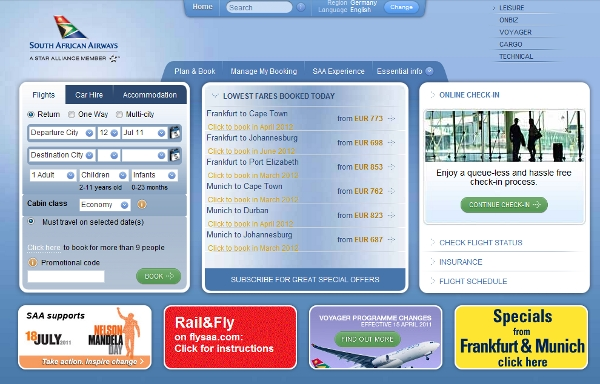 South African Airlines landing page