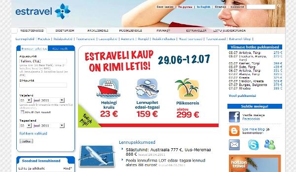 Estravel landing page
