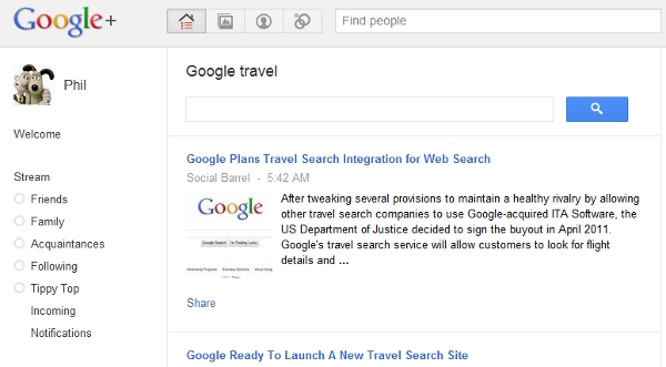 Google + Sparks aspect