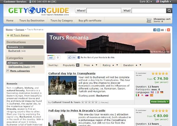 Romania tours listing