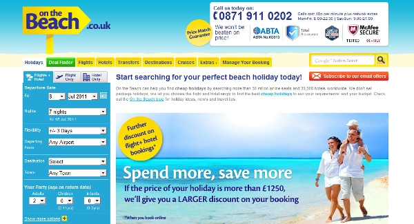 The On the Beach landing page