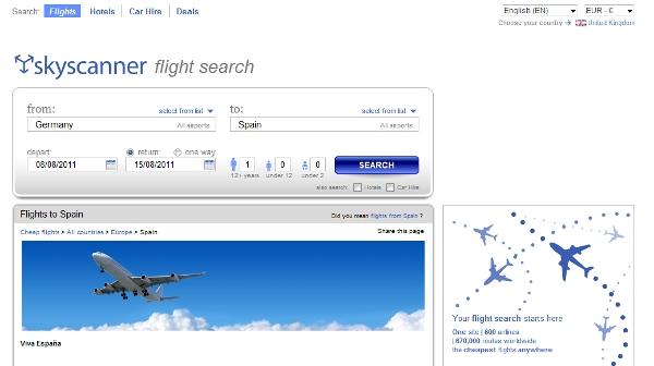 Skyscanner flight search