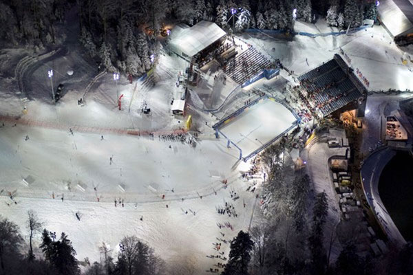 Sljeme - skiing at night.