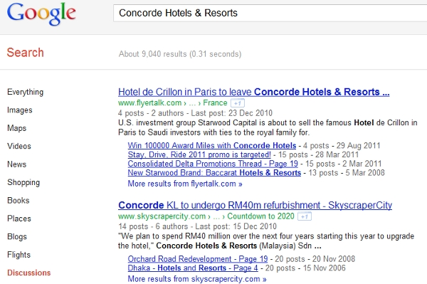 Concorde Hotels discussions on Google