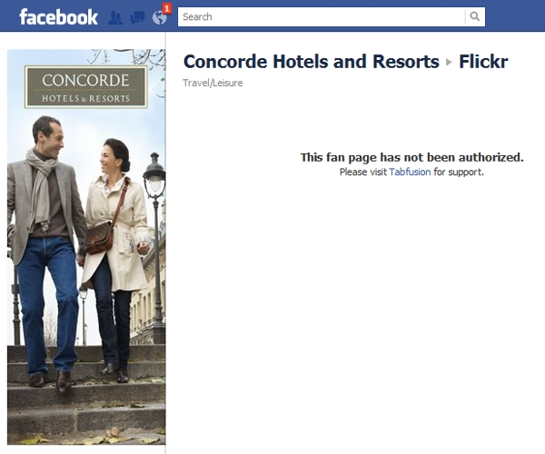 Concorde Facebook element connect with Flickr