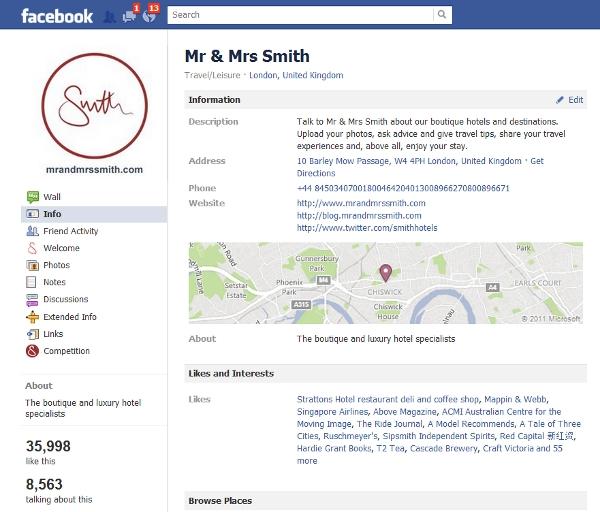 Mr & Mrs Smith Facebook profile