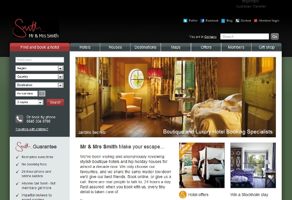 Mr & Mrs Smith boutique luxury hotels