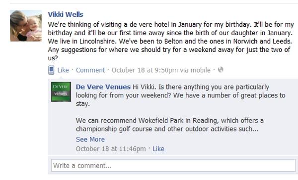 A lady engages De Vere Venues on Facebook