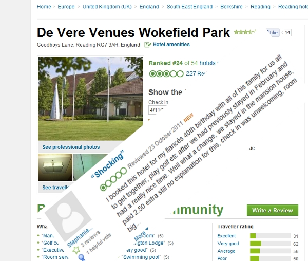 In this case TripAdvisor is not exactly De Vere's best channel
